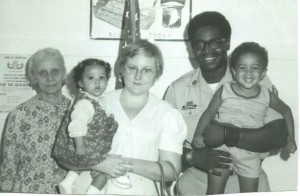 My great grandmother, mom, dad, sister, and me