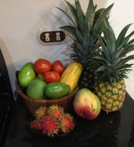 Tomatoes, avocados, papaya, rambutan, mango, pineapples